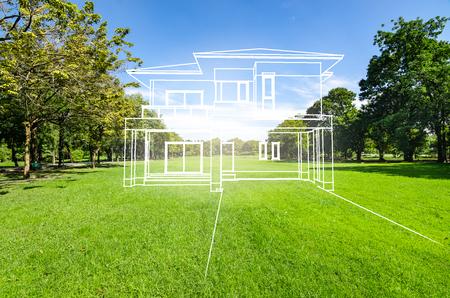 Photo pour concept of dream house on green grass filed - image libre de droit