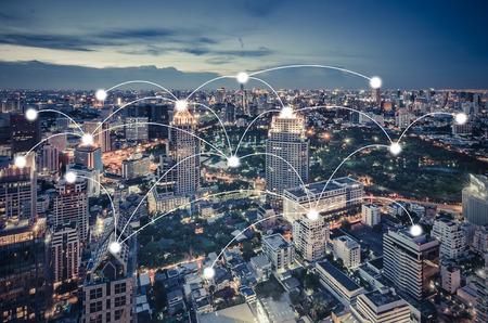 Photo pour network and connection concept with cityscape as background, business concept, vintage style process - image libre de droit