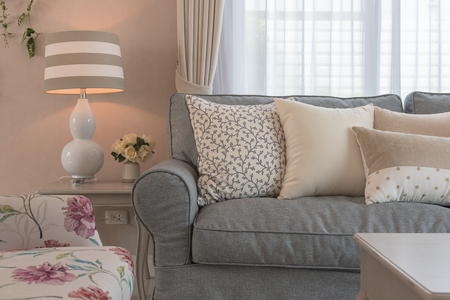Photo pour classic living room style with elegance sofa and set of pillows, interior design decoration concept - image libre de droit