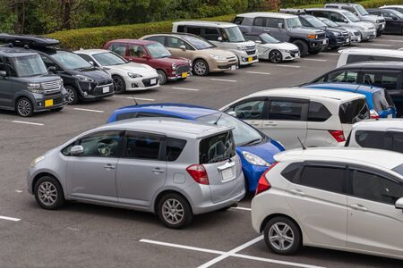 Photo for row of cars parked in outdoor parking lot, out door parking with lot of cars - Royalty Free Image
