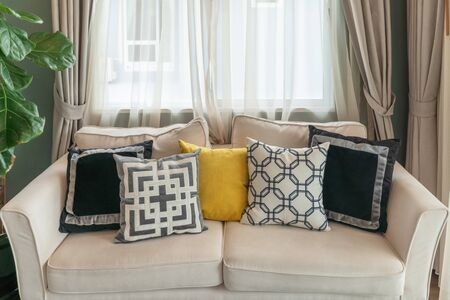 Photo for modern living room with modern white sofa and set of pillows, interior design decoration concept - Royalty Free Image