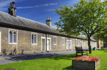 Row of old almshouses, Thornton Le Dale village, Ryedale, North Yorkshire, England.