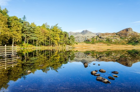 Scenic view of Blea Tarn in the English Lake District, Cumbria, England.