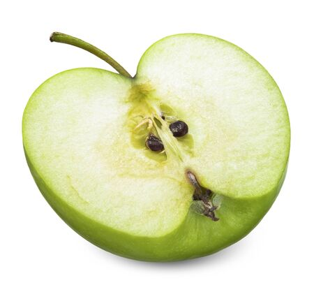 Photo for Half green apple isolated on white, apple - Royalty Free Image