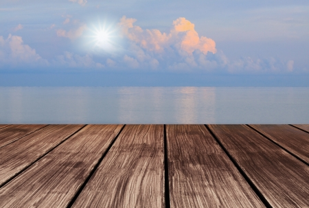 wood terrace perspective to sky and sun shine on sky
