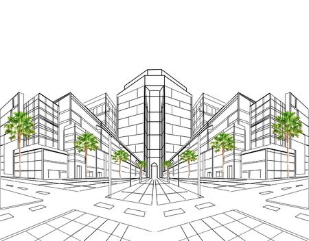 perspective drawing plan for building site construction and multipurpose
