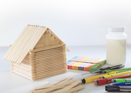 home made from popsicle wood on white background use for children play and adult hobby