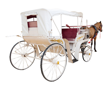 rear view of horse fairy tale carriage cabin isolated white background use for transport decoration object
