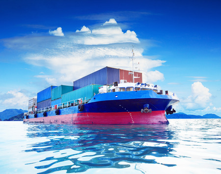 commercial container ship in naval transportation use for business import export and cargo logistic industry