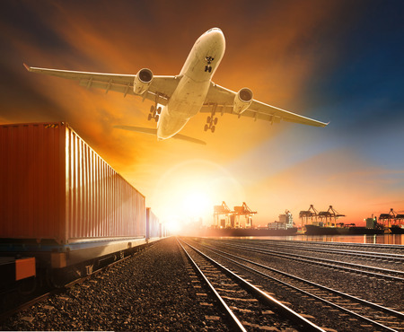 Photo pour industry container trainst running on railways track plane cargo flying above and ship transport in import export container yard - image libre de droit