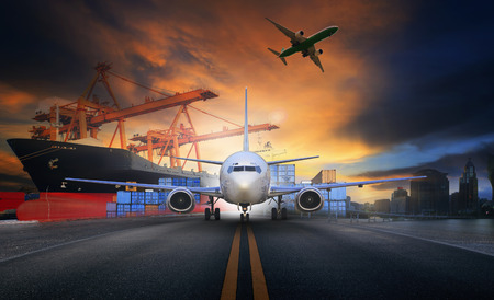 Photo pour ship loading container in import - export pier and air cargo plane approach in airport use for transport and freight logistic business industry background - image libre de droit