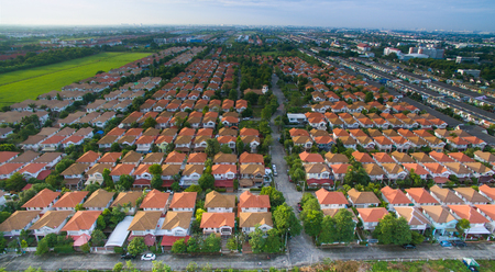 aerial view of home ,house residential area with good environmental in out skirt of bangkok thailand use for rial estate and land management theme