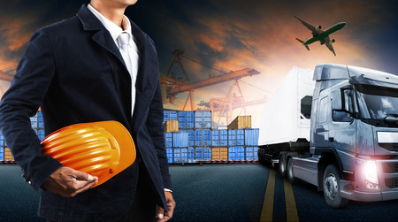Foto de container truck ,ship in port and freight cargo plane in transport and import-export commercial logistic ,shipping business industry - Imagen libre de derechos
