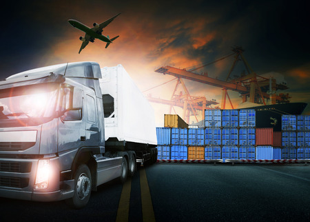 Photo pour container truck ,ship in port and freight cargo plane in transport and import-export commercial logistic ,shipping business industry - image libre de droit