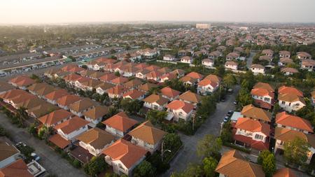 Foto de aerial view of home village in thailand use for land development and property real estate business - Imagen libre de derechos
