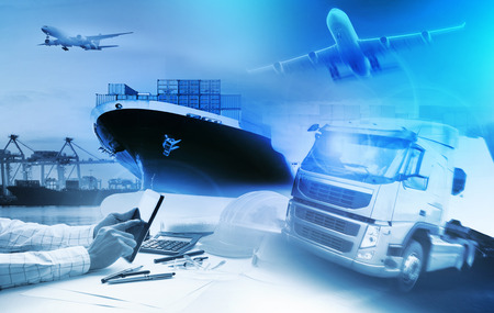 Photo for container truck ,ship in port and freight cargo plane in transport and import-export commercial logistic ,shipping business industry - Royalty Free Image