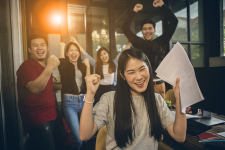 Photo for asian younger freelance teamwork  job successfull happiness emotion - Royalty Free Image