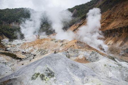 Photo pour jigokudani noboribetsu valley one of most popular traveling destination in sapporo hokkaido - image libre de droit