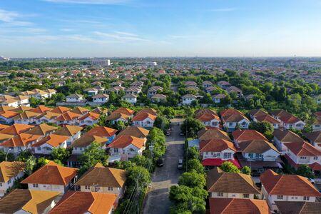 Photo pour aerial view of beautiful home village and town settlement - image libre de droit