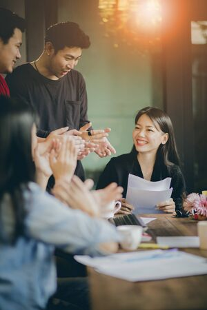 Photo for asian freelance team meeting with happiness in modern home office - Royalty Free Image