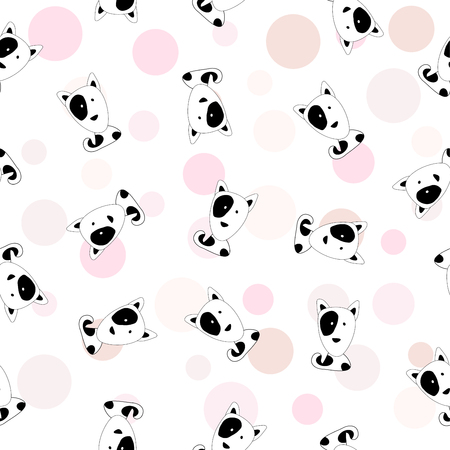 Seemless pattern of cartoon black and white dog head white background, Vectore design for paper print business, fabric or background.