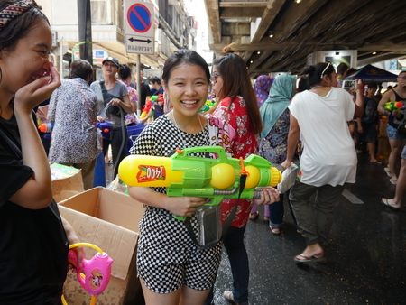 Bangkok, Thailand-April 13, 2017: Songkran water festival at Silom road