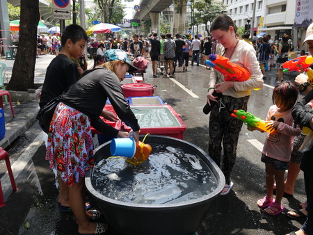 Bangkok, Thailand-April 14, 2017: Songkran water festival at Silom road