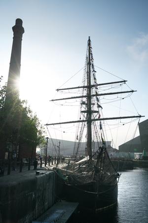 Liverpool, UK-May 24, 2017: Sailboat at the port of Liverpool