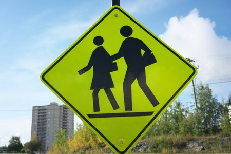 Photo for Yellowknife, Canada-September 1, 2019: School Ahead sign in Yellowknife, Canada - Royalty Free Image
