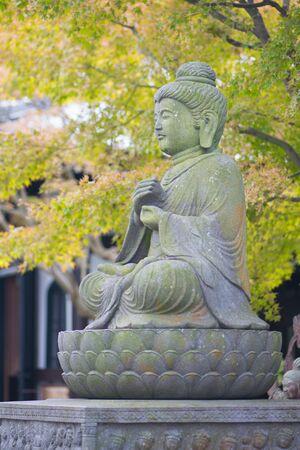 Stone Buddist statues of Hase-dera temple in Kamakura, Japan.