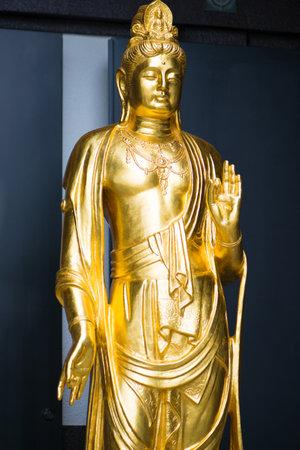 Kamakura, Japan - November 07, 2018:Gold Kannon at Kannon museum in Haze-dera temple or Hase-kannon temple in Kamakura,Japan