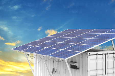 container box with solar panels on the roof