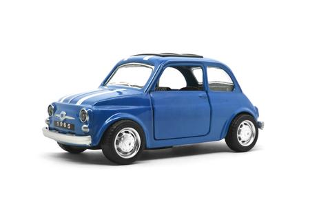 Foto de blue retro car toy model isolated on white background - Imagen libre de derechos