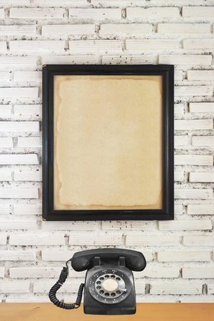 Photo for mock up poster on white brick wall background - Royalty Free Image