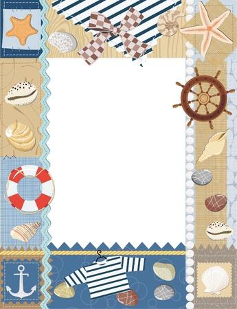 Marine photo frame. Vector illustration