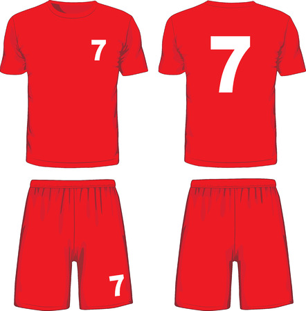 Set of soccer uniform front and back view. Vector