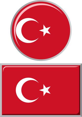 Illustration pour Turkish round and square icon flag. Vector illustration Eps 8. - image libre de droit