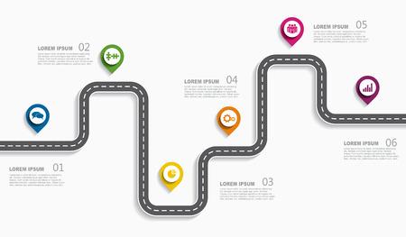 Ilustración de Navigation roadmap infographic timeline concept with place for data. Vector illustration. - Imagen libre de derechos