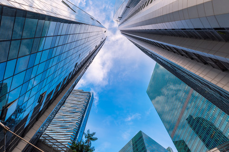Perspective of skyscrpers tower and business building at low angle view., Business downtown and financial certer