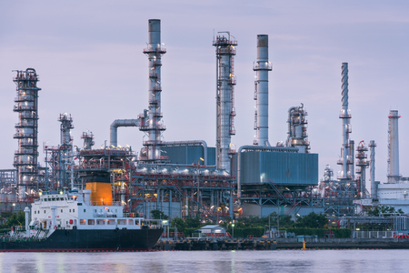 Sunrise scene at oil refinery plant., Logistics and cargo shipping