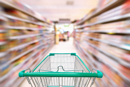 Photo pour Product on sale and customer service concepts, Sopping basket in department store. - image libre de droit