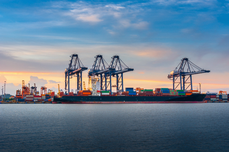 Photo for Transportation and Shipping Logistics Loading Dock Terminal., Container Import and Export of Sea Freight Transport Industrial., Landscape of Port Maritime and Harbor Cargo Shipyard With Crane Bridge. - Royalty Free Image