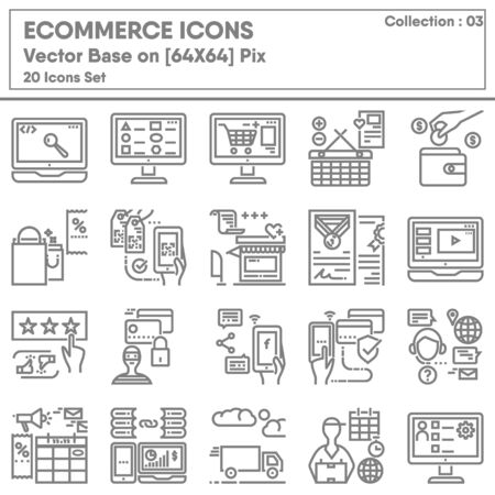 Illustration for E-commerce Shopping Online and Marketing Network Icons Set, Icon Collection for Business Market Website Advertising. Store Internet Online and Mobile Convenience Shop, Infographic Illustration Design. - Royalty Free Image