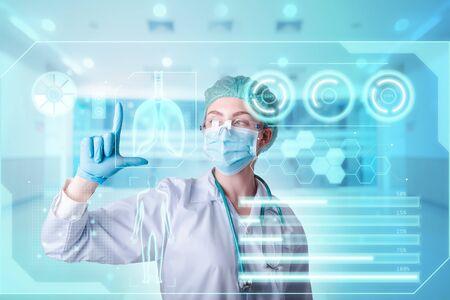 Photo pour Medical Doctor Diagnosis Coronavirus Covid-19 Patient Health Report on Digital Interface Virtual Data in Laboratory Hospital. Futuristic Medicine Doctors Corona Virus Infection Examination, Healthcare - image libre de droit
