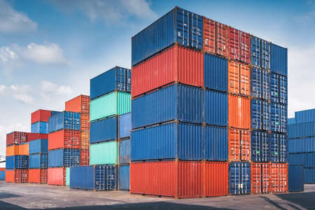 Photo for Stack of Containers Cargo Ship Import/Export in Harbor Port, Cargo Freight Shipping of Container Logistics Industry. Nautical Transport Distribution Yard, Business Commercial Dock and Transportation. - Royalty Free Image