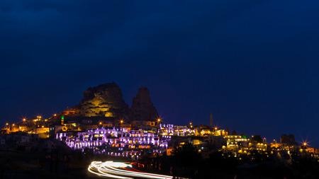Uchisar town at night.