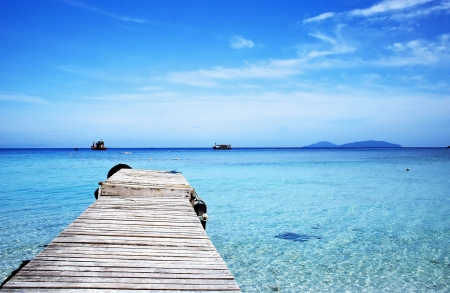 Pier at beach in Redang Island, Malaysia.