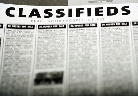 Classified ads newspaper