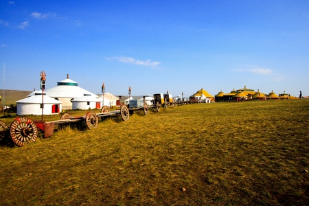 Inner Mongolia yurt in the grass land.