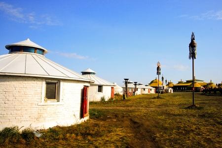 Inner Mongolia yurt in the grass land.